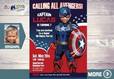 Captain America Invitation, Captain America Birthday, Captain America Party, Avengers Digital Invitation, Avengers Birthday, 074
