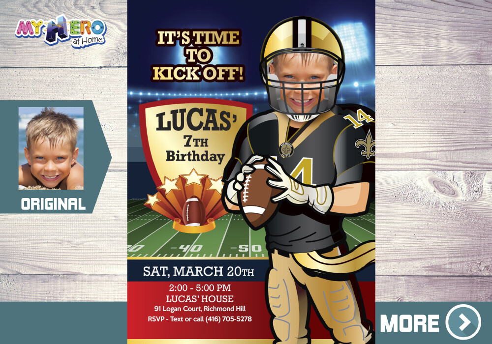New Orleans Saints Birthday Invitation. Football Party. 323