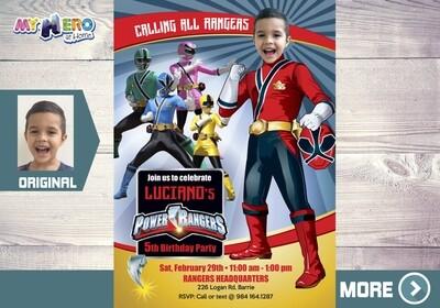 Power Rangers Birthday Invitation, Red Power Ranger Party, Power Rangers Theme party, Rangers Virtual, Rangers Digital Invitation. 001