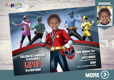 Power Rangers Birthday Invitation. Red Power Ranger Party. 002