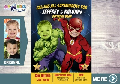 Flash and Hulk Birthday Invitation, Superheroes Siblings Birthday, Joint Superheroes Party, Hulk and Flash theme Party. 183