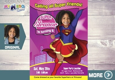 Supergirl Birthday Invitation, Super Friends Party, Supergirl Virtual, Super Girl Invitation, Super Girl Party, Super Girl Digital. 109