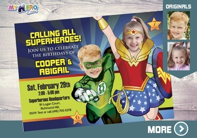 Green Lantern and Wonder Woman Birthday Invitation, Joint Justice League Invitation, Wonder Woman and Green Lantern Party. 180