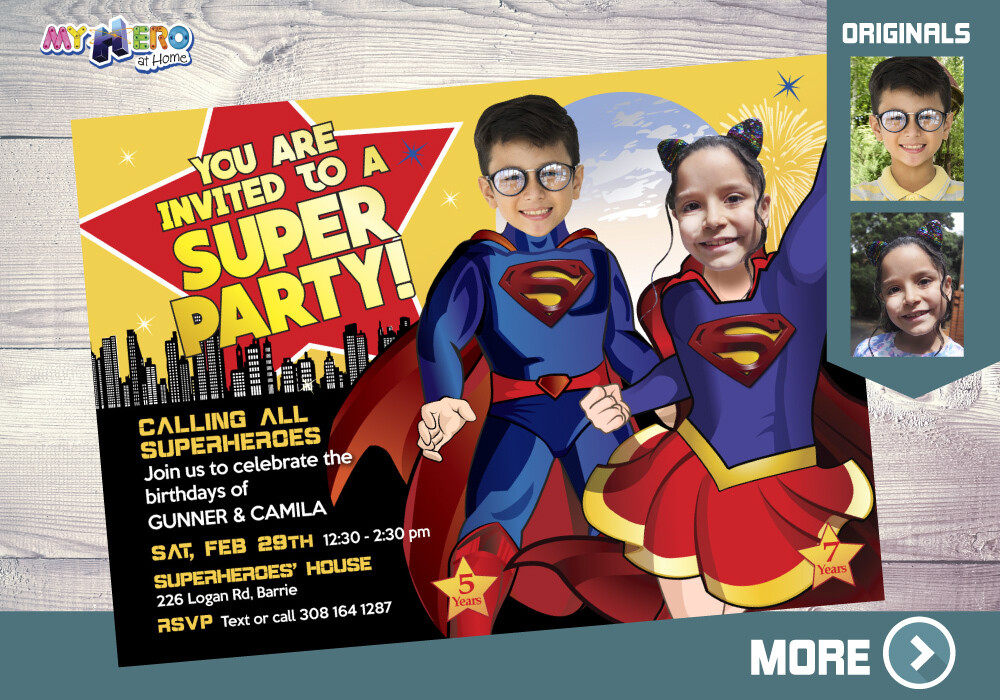 Supergirl and Superman Birthday Invitation, Super Siblings party, Superheroes Brother Sister Birthday, Superman and Supergirl Party. 116