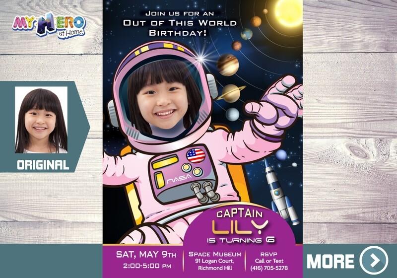 Girl Astronaut Birthday Invitation, Galaxy Party, Space Birthday, Girl Astronaut Digital Invitation, Pink Astronaut Virtual. 376