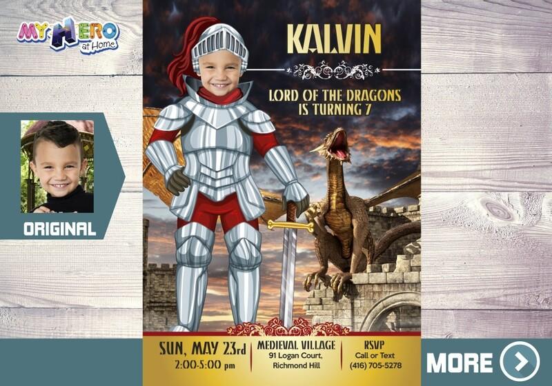 Dragons Birthday Invitation, Knights Party Invitation, Medieval Virtual Birthday, Knights and Dragon Party, Dragons Digital Invitation. 220