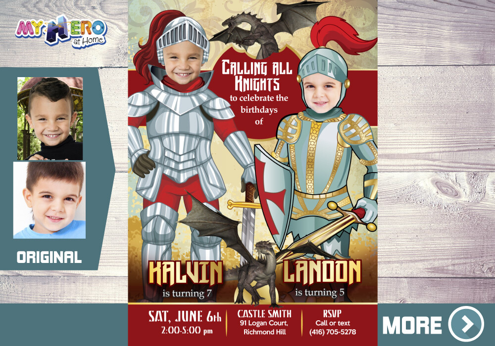 Joint Knights Birthday Invitation, Joint Dragons Birthday, Knights Siblings Birthday, Knights and Dragons theme Party, Knights Virtual. 221