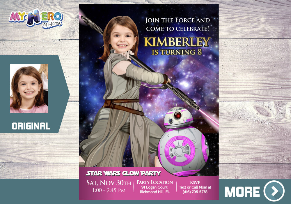 Pink Star Wars Invitation. Jedi Rey Invitation. BB8 Invitation. Pink Star Wars Party. Pink Jedi Rey birthday ideas. Girl Star Wars Party 392