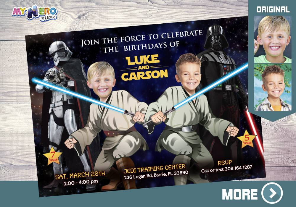 Joint Star Wars Birthday. Jedi Siblings Invitation. Joint Jedi Party Ideas. Joint Star Wars Party. Darth Vader and Stormtrooper Party. 423