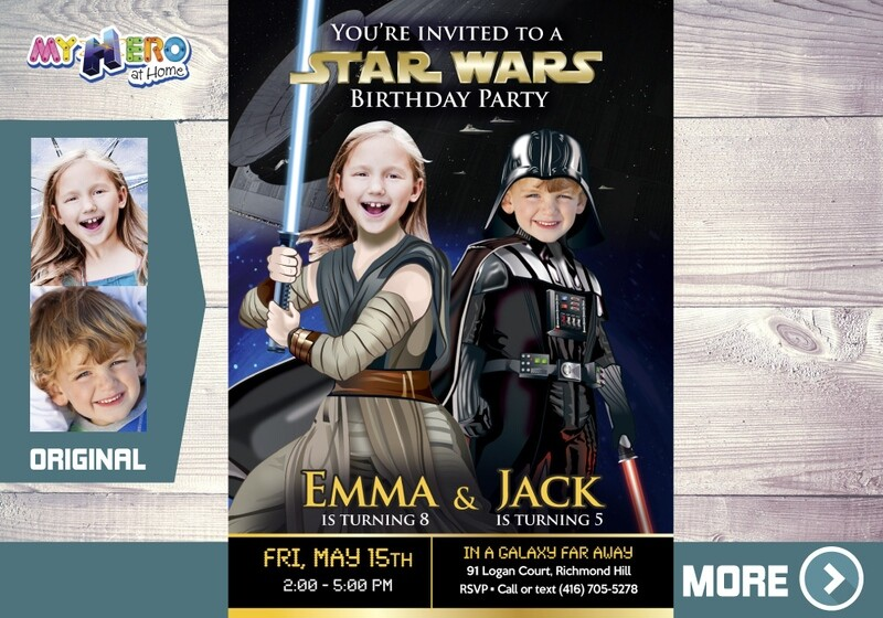 Joint Star Wars Birthday Invitation. Turn your children into Darth Vader and Jedi Rey. Star Wars Party Ideas for Siblings. 040
