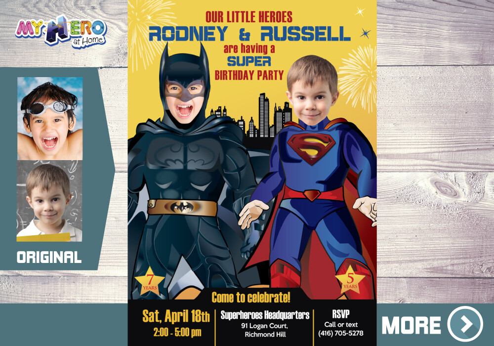 Superman and Batman Invitation. Batman and Superman Party. Joint Justice League Invitation. Superman Batman Party Ideas. 070