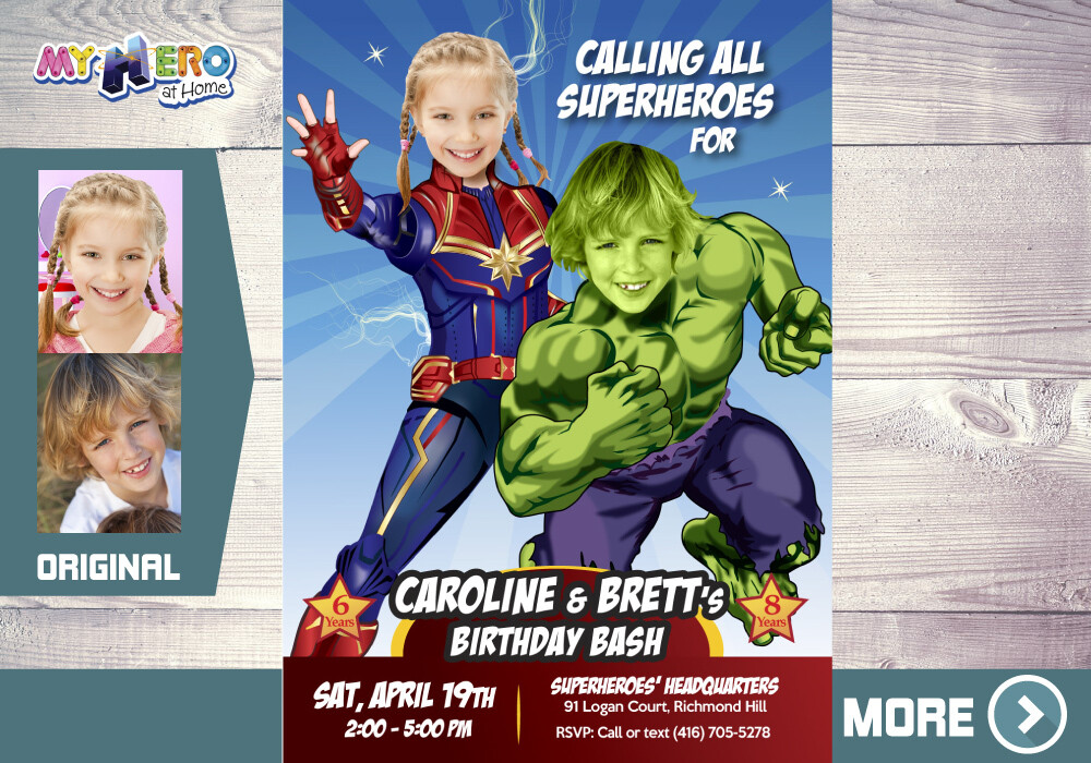 Captain Marvel and Hulk Invitation, Captain Marvel and Hulk Party, Joint Avengers Party Invitation, Avengers Siblings Party, 257