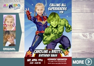 Captain Marvel and Hulk Invitation. Captain Marvel and Hulk Party. Joint Avengers Party Invitation. Avengers Siblings Party. 257