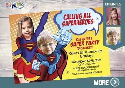 Superman and Supergirl Birthday Invitation, Two Superheroes Birthday Party, Joint superheroes invitation, Supergirl Superman Party, 117