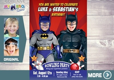 Joint Batman Bowling Invitation. Batman Bowling Party. 199