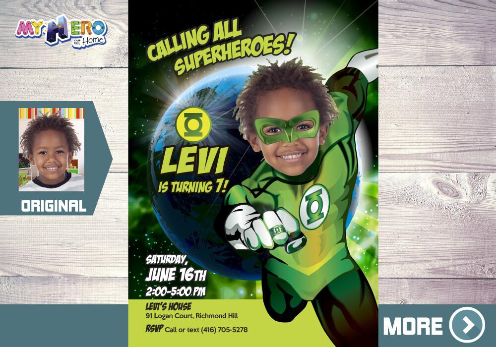 Green Lantern Birthday Invitation, Green Lantern Party, Green Lantern Photo Invitation, Green Lantern theme party, 167