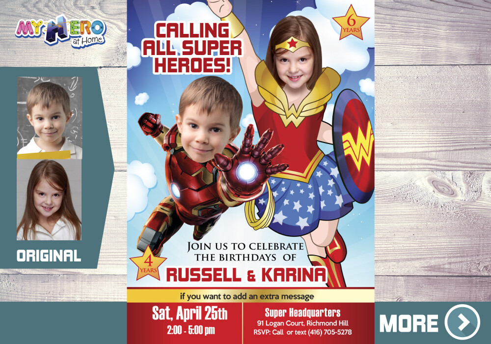 Iron Man and Wonder Woman Birthday Invitation, Superheroes Siblings Birthday, Joint superheroes party, Wonder Woman and Iron Man Party, 172