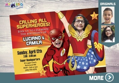 Flash and Wonder Woman Birthday Invitation, Wonder Woman and Flash Party, Joint superheroes Party, Joint Superheroes Digital. 150