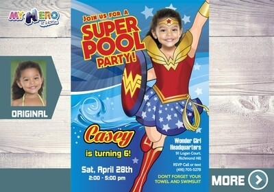 Wonder Woman Pool Party Invitation, Pool Party themed Wonder Woman, Pool Wonder Woman, Super hero girls Pool Party. 130
