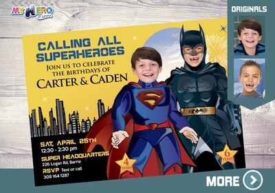 Superman and Batman Invitation. Batman and Superman Party. Joint Justice League Invitation. Superman and Batman Party Ideas. 069