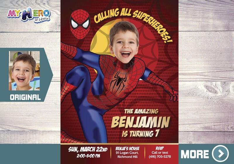 Spider-Man Birthday Invitation, Spider-Man Party, Spiderman Digital, Spider-Man Photo Invitation, SpiderMan Invitation. 102