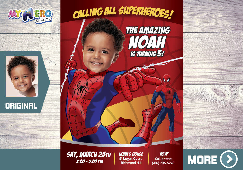 Spiderman Birthday Invitation, Spiderman Party, Spiderman Digital, Spiderman theme Party, Spiderman Virtual, 136