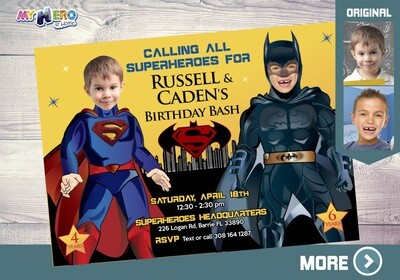 Superman and Batman Invitation. Superheroes Siblings Invitation. Superman and Batman Joint Party. Batman and Superman Birthday. 068