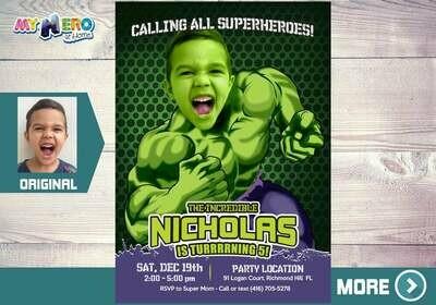 Hulk Invitation. Turn your boy into the Hulk. Hulk Birthday Ideas. The Hulk Birthday Invitation. Hulk Party Ideas. Custom Hulk Party. 089