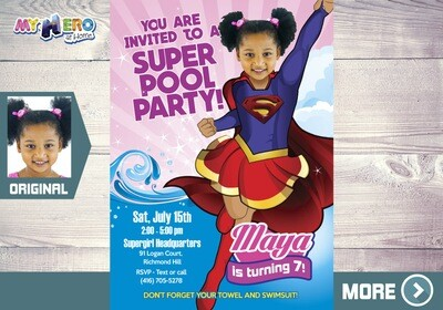 Supergirl Pool Party Invitation, Pool Party Super Hero Girls, Supergirl Birthday, Super Hero Girls Pool Party, Super girl Pool Party. 114