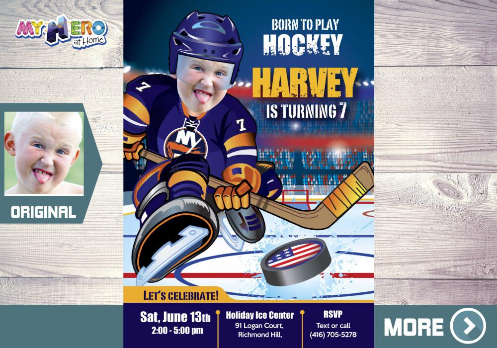 New York Islanders Birthday Invitation, New York Islanders Party, Ice Hockey Party, Hockey Digital, Hockey Virtual, Hockey Birthday. 332