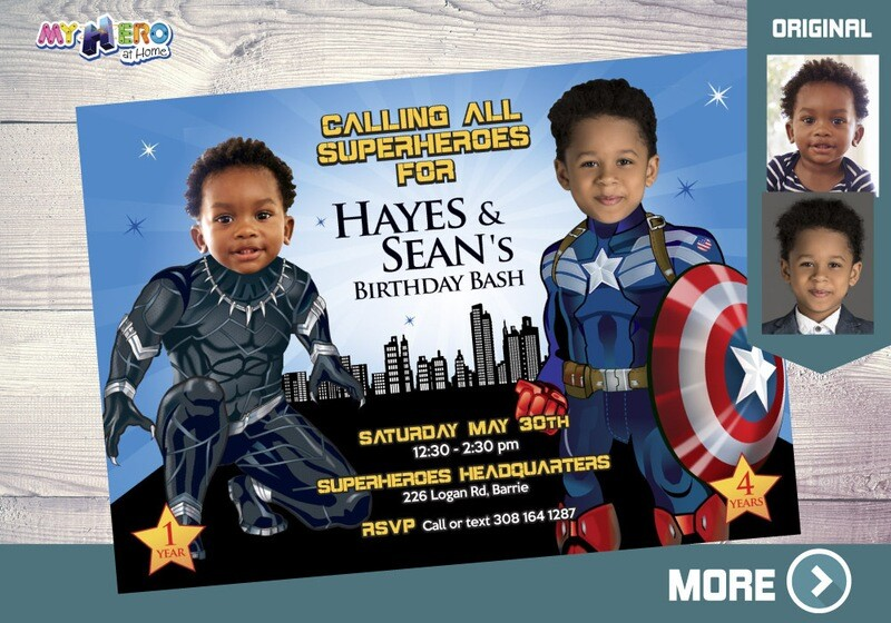 Captain America and Black Panther Invitation, Joint Avengers Party, Black Panther and Captain America Birthday Party Invitation. 163