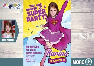 Pink Supergirl Birthday Invitation, Supergirl Pink Party, Pink Supergirl Digital, Supergirl theme party, Pink Super heroine party. 111
