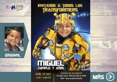 Transformers Invitación de Cumpleaños. Fiesta tema Bumblebee. 292SP