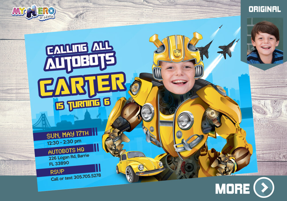 Autobots Birthday Invitation, Bumblebee Theme Party, Transformers Digital, Bumblebee Drive By Birthday, Autobots Digital. 293