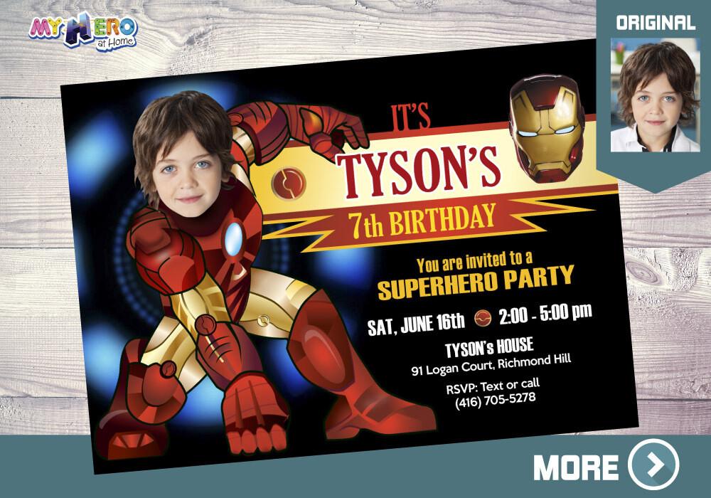 Iron Man Birthday Invitation, Iron Man Invitation, Iron Man Party, Ironman Photo Invitation, Iron Man theme Party, Iron man Digital. 095