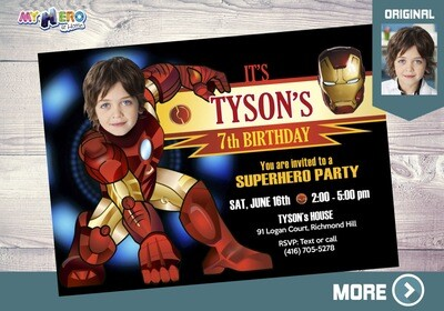 Iron Man Invitation. Iron Man Birthday Ideas. Iron Man Party Ideas. Ironman Photo Invitation. Iron Man theme Party. Invitación Ironman. 095