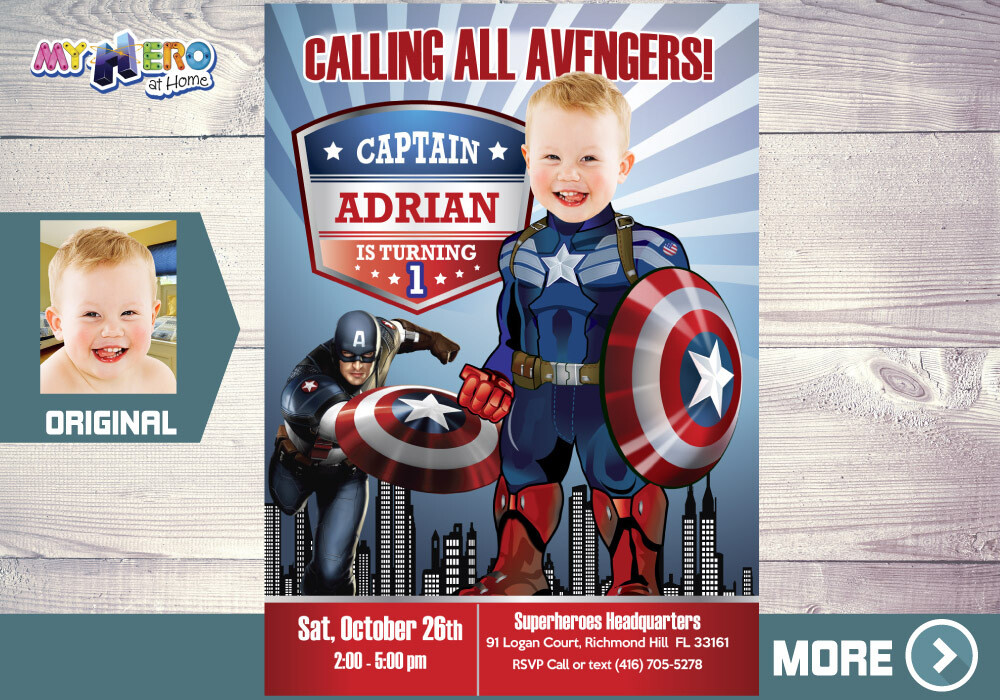 Captain America 1st Birthday, Baby Captain America Party, Captain America 1st Invitation, Avengers 1st Party, Captain America Digital, 075B