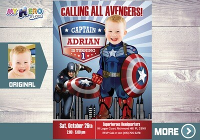 Captain America 1st Birthday. Baby Captain America Party. Captain America 1st Invitation. Avengers 1st Party. Captain America Party. 075B