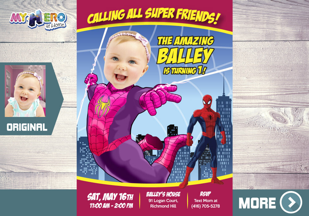 Baby Spider-Girl Birthday Invitation, Spider-Girl First Invitation, Pink Spider-woman 1st Birthday, Spider-girl First Birthday. 391B
