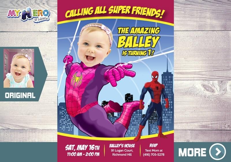 Baby Spider-Girl Birthday Invitation, Spider-Girl First Invitation, Pink Spider-woman 1st Birthday, Spider-girl First Birthday. 391B