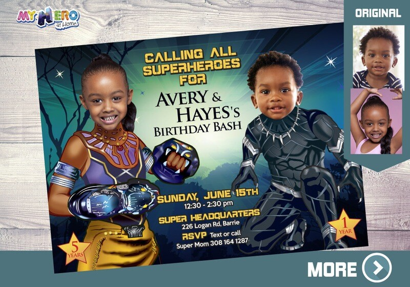 Black Panther and Shuri Invitation, Black Panther Siblings Party, Shuri and Black Panther Birthday, Brother and Sister Black Panther. 175