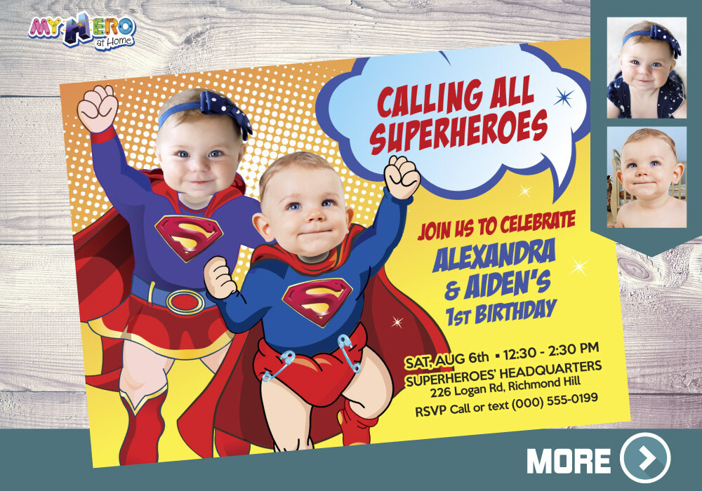Superman and Supergirl 1st Birthday Invitation, Super Baby Twins Birthday, Supergirl Superman First Birthday, Super Babies 1st Party. 120