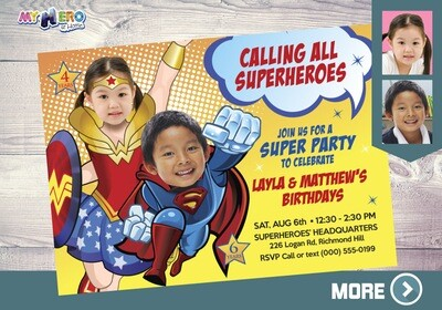 Wonder Woman and Superman Birthday Invitation, Superheroes Siblings Party, Joint Justice League party, Superman Wonder Woman Party. 141
