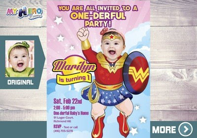 Wonder Woman 1st Birthday Invitation, Baby Wonder Woman 1st Party, One-derful Birthday, Superhero Baby Girl Party. 171