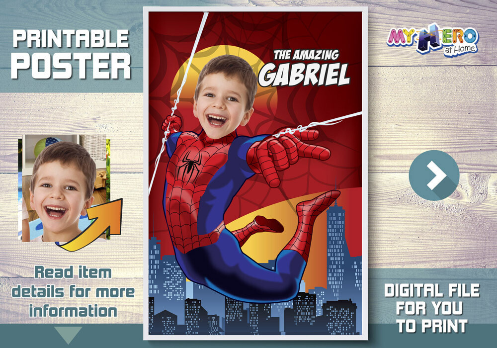 Spider-Man Poster. Turn your child into Spiderman to star his Custom Spiderman Poster. Spider-man Decoration. Spiderman Backdrop. 367