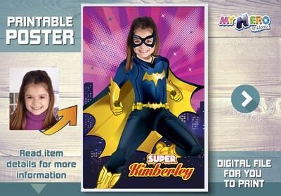 Batwoman Poster, Custom Batgirl Poster, DC Super Hero Girls Poster, Batwoman Room Decor, Batwoman Wall Decor, Batwoman Gifts. 410