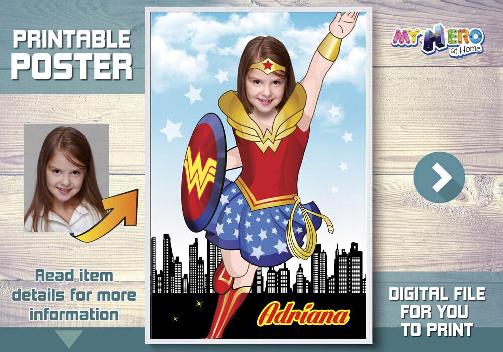 Wonder Woman Poster. Super hero girls poster. Wonder Woman Decor. Wonder Woman Art poster. Custom Wonder Woman Poster. Wonder Girl. 374