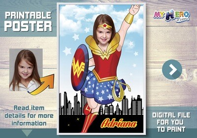Wonder Woman Poster, Super hero girls poster, Wonder Woman Decor, Wonder Woman Art poster, Custom Wonder Woman Poster, Wonder Girl. 374