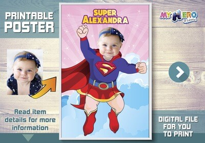 Baby Supergirl Poster, Baby Supergirl Decor, Baby Supergirl party, Baby Supergirl Room, Supergirl 1st birthday, First Supergirl Party. 397