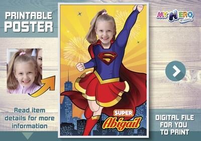 Supergirl Poster, Supergirl Room Decor, Supergirl Backdrop, Supergirl Party decor, Supergirl Wall Decor, Super girl Decoration. 398